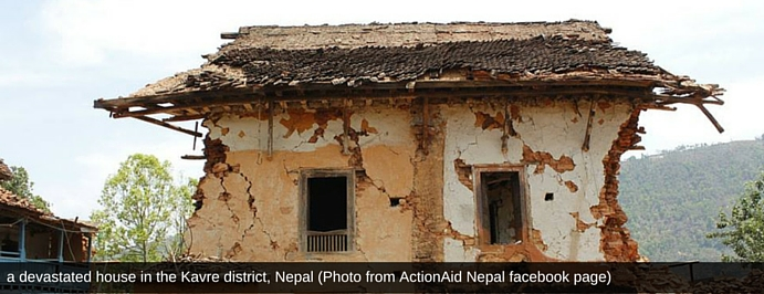a devastated house in the Kavre district, Nepal (Photo from ActionAid Nepal facebook page).jpg